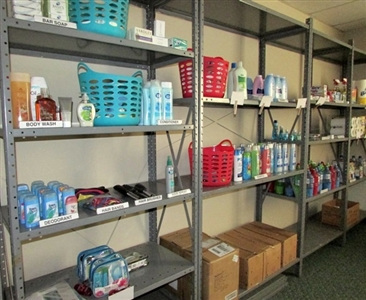 Supply room at The Portico for collections to help human trafficking victims