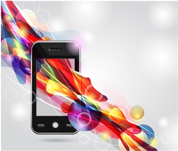Photo illustration of colorful digital stream through mobile phone