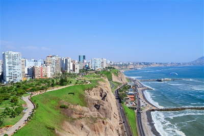 Aerial view of Lima, Peru, overlooking the sea