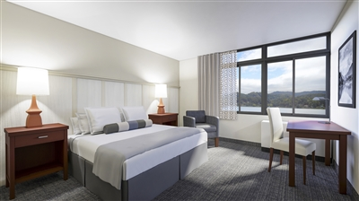 Rendering of upgraded guest room at The Terrace Hotel